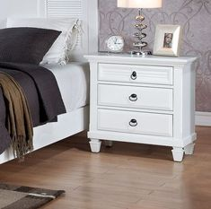 Best online store Clearwater 3 Drawer Nightstand by Red Barrel Studio Bedroom Dresser Styling, 3 Drawer Nightstand, White Bedroom Furniture, Fine Furniture, Nightstand Ideas, Kids Bedroom Sets, Small Room Bedroom, Master Bedroom Design, Girls Bedroom