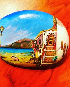 Paisaje canario #handmade #piedraspintadas #piedraspintadasamano
