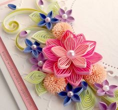 beautiful quilling flower bouquet card                                                                                                                                                     More
