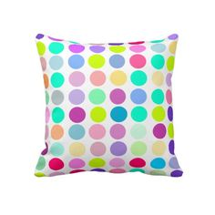"""Colorful Polka Dot Throw Pillow $72 Throw Pillow 20"""" x 20""""  Accent your home with custom pillows. Made of 100% grade A cotton. The perfect complement to your couch, custom pillows will make you the envy of the neighborhood.      Sizes 20""""x20"""" (square) and 13""""x21"""" (lumbar).     100% grade A woven cotton.     Fabric is made from natural fibers, which may result in irregularities     Made in the USA.     Hidden zipper enclosure; synthetic-filled insert included.     Machine washable."""