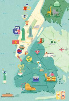 Salt Magazine map of New York - Assa Ariyoshi illustrations