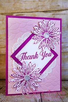 Daisy Delight stamp set, Daisy Punch, Berry Burst Cardstock, Delicate White Doilies, Clear Gem Embellishments, Berry Burst Classic Ink, Stichted Shapes Fraamelits dies, Stampin' Up!, #rickadkins, #rckinsmonstudio