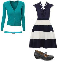 Business Casual Starter Kit Day 27: Aqua cardigan, navy blouse, navy & white skirt, turquoise belt, black shoes.