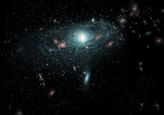 galaxies Zone of Avoidance - An artist's impression of the galaxies found in the 'Zone of Avoidance' behind the Milky Way. This scene has been created using the actual positional data of the new galaxies and randomly populating the region with galaxies of different sizes, types and colours.