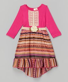 Look what I found on #zulily! Pink & Yellow Stripe Dress - Girls #zulilyfinds