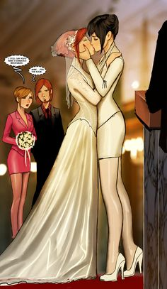 I know it's just a drawing, but if it was my wedding, I'd love to dress like the girl on the right, in the short pants suit. My wife could wear the more traditional gown.  appropriate is not in her dictionary by shiniez.deviantart.com on @deviantART