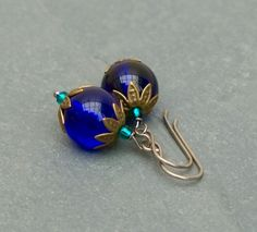 Cobalt blue glass earrings with titanium ear wires.  by BijoubeadsLondon