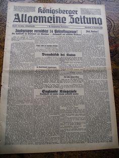 Original-Zeitung aus Königsberg / Ostpreußen *16.9.1939* Allenstein, Warschau