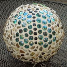 Butterfly - Bowling Ball, glue on gem stones and grout!  So fun!