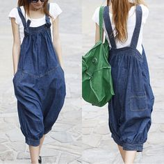 Loose denim overalls casual  3/4 Bib personalized by qinbailiang