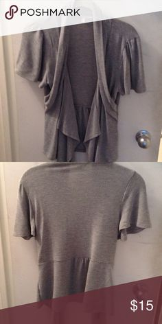 Short sleeved open cardigan Grey short sleeved open sweater. Great over tank top. Dress it up or down. Moa Moa Sweaters Cardigans