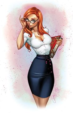 A Redheaded Sexy Librarian Rocking the Cateye Glasses - Why does this look so familiar?! ;)