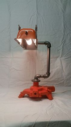 Upcycled Chevrolet parts Lamp by TanglewoodIron on Etsy Car Part Furniture, Automotive Furniture, Automotive Decor, Furniture Ideas, Industrial Lighting, Cool Lighting, Pipe Lighting, Man Cave Garage, Light Fittings