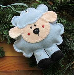 Wool Felt Lamb Ornament Hanger In Robin's Egg by FHGoldDesigns