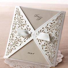 Ivory Laser Cut Lace Wedding Invitations - TU 051
