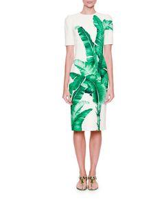 Banana+Leaf-Print+Sheath+Dress,+White/Green+by+Dolce+&+Gabbana+at+Neiman+Marcus.