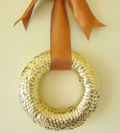 Gold Thumbtack Wreath DIY Craft from our friends at Country Woman
