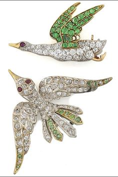 Two antique demantoid garnet and diamond bird brooches both in-flight birds pavé-set with circular diamonds and demantoid garnets; mounted in fourteen karat gold and platinum-topped fourteen karat gold. Insect Jewelry, Bird Jewelry, Animal Jewelry, Jewelery, Robins, Antique Jewelry, Vintage Jewelry, Garnet Jewelry, Vintage Costume Jewelry