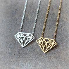 Diamant vorm ketting / Kies uw kleur goud en zilver door laonato