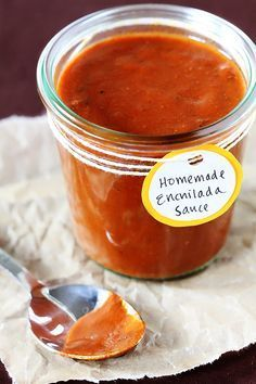Enchilada Sauce: 2 Tbsp. vegetable or canola oil 2 Tbsp. flour 4 Tbsp. chili powder 1/2 tsp. garlic powder 1/2 tsp. salt 1/4 tsp. cumin 1/4 tsp. oregano 2 cups chicken broth Heat oil in a small saucepan over medium-high heat. Add flour and stir together over the heat for one minute. Stir in the remaining seasonings. Grad. add ch broth, whisking to remove lumps. Simmer 10-15 until thick.