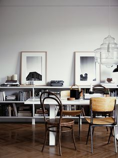 Is this a dining or a working space? - Scandinavian dining room, scandinavian home office, visualisation by Gleb Kryukov - 3d Interior Design, Küchen Design, Interior Architecture, House Design, Dining Room Office, Dining Room Design, Comedor Office, Esstisch Design, Dining Room Lighting