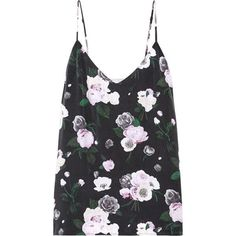 Equipment Layla floral-print washed-silk camisole (998.375 IDR) ❤ liked on Polyvore featuring intimates, camis, tops, black, silk camisole, silk cami, floral cami, floral print cami and loose camisole #camistop