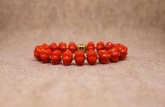 Orange Howlite Fluted Bead Stretch Bracelet  7 1/2 Inch