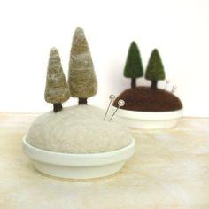 Прелестная войлочная миниатюра — пейзажные игольницы - Ярмарка Мастеров - ручная работа, handmade