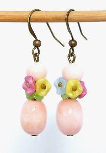 Vintage-Art-Deco-Czech-satin-glass-flower-amp-pink-French-glass-bead-earrings