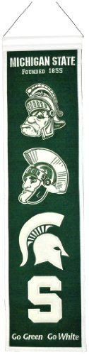 "NCAA Michigan State Spartans Heritage Banner by Winning Streak. $21.99. Genuine wool blend fabric.. This unique wool, vintage style banner is decorated with distinctive embroidery and applique detail, and highlights the evolution of logos over time. Ideal as a gift or for decorating an office, gameroom or bedroom.. A uniquely hand-crafted, vintage style, wool banner featuring intricate embroidery and applique design detail.. One 32"" x 8"" college wool banner ch..."