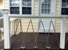 I modified an idea I found here on Pinterest and used dock cleats and rope for the railing. #nauticaldeckrail #diy #houserenovation