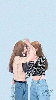 talking and laughing with my school friends Best Friend Drawings, Bff Drawings, Girl Cartoon, Cartoon Art, Cover Wattpad, Film Manga, Desenhos Love, Cute Couple Drawings, K Wallpaper