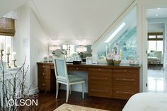 A custom-cut window wall divides the bedroom from the bath, sharing light between the two spaces.  #candiceolson