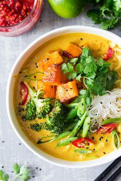 vegan khao soi soup portion
