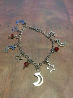 Moon & Star Charm Bracelet -  red crystals - jewelry - jewellery - jewlery - silver charms - chain bracelet - christmas - gifts  - vintage by Blackrose37 on Etsy