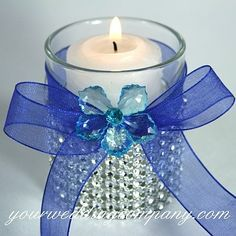 outdoor royal blue and orange weddings | white votive candle decorated with a blue acrylic flower, royal blue ...