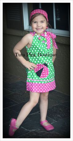 Boutique Tie Dress Lil Lady Pink Green