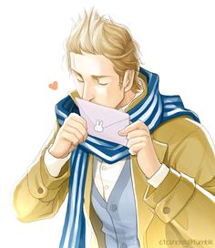Willem (head-canon name for Netherlands) with a Valentines Day card - Art by ctcsherry.tumblr.com - Based on news that in the Netherlands this year, cards and letters with a kiss mark instead of a stamp could be sent for free on Valentines Day. Hm...I wonder who his Valentine would be....