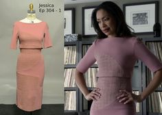 big (applique?) circle on skirt and top (or dress?) Jessica Pearson on Suits (Gina Torres)