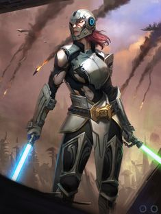Jedi by ㅇㅇ Joo. Female Jedi, Female Armor, Star Wars Characters Pictures, Star Wars Images, Star Wars Concept Art, Star Wars Fan Art, Star Wars Rpg, Star Wars Jedi, Jedi Armor