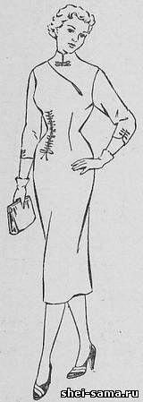 Асимметричное платье с драпировкой по вытачке и по боку на левом полотнище