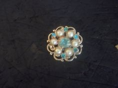 vintage blue stones and pearls   pin