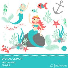 Mermaid  Seahorse  Under the Sea Clipart  300 dpi  by feathertree