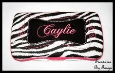 Boutique Personalized Zebra Print with Hot Pink Accents Baby Wipes Case. $15.00, via Etsy.