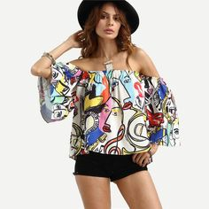 SheIn Off The Shoulder Graffiti Print Crop Blouse Womens Tops Fashion Summer Multicolor Half Flare Sleeve Beach Blouses