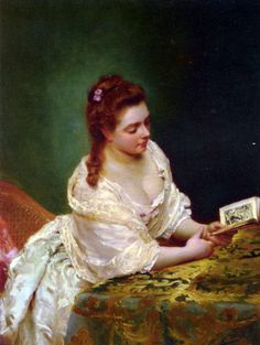 books0977:   La Lettre. Gustave Jean Jacquet (French, 1846-1909). Oil on panel.