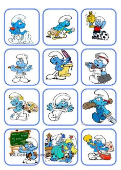 Flashcard Jobs with the smurfs. There are some flashcards to present the vocabulary (astronaut, teacher.) and also a worksheet is included in the last page. Classic Cartoon Characters, Classic Cartoons, Smurf Village, Disney Princess Cartoons, Disney Games, Looney Tunes Cartoons, Smurfette, Cute Teddy Bears, Kid Movies