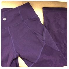 lululemon floral mesh crops plum/purple color lululemon crops! they have pockets on each side that fit your phone perfectly and are so handy! the floral parts shown on the pants on the front and back and sort of like a mesh and you can see your legs through the flower parts! looking to trade only for other lululemon pants!☺️ super rare! I have never seen anyone with these on before(: lululemon athletica Pants Leggings