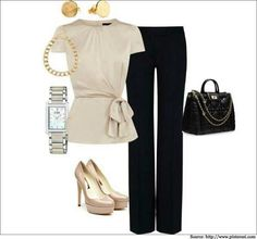 What to wear to work  - Wear this knotted bow #top with minimal #accessories.