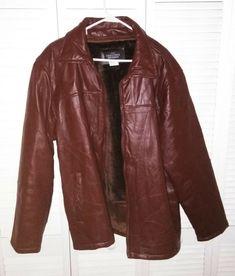 fe63ad2ff5 Haband Executive Division Mens 100% Leather Retro Jacket Size XL Fleece  Lining  fashion